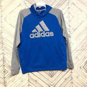 Adidas mens L gray raglan hoodie, no drawstring